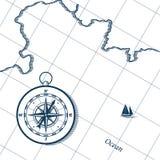 Carte et compas illustration libre de droits