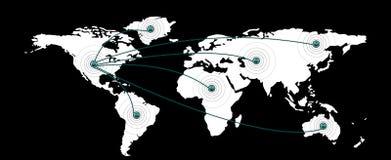 Carte et continents du monde Photos stock