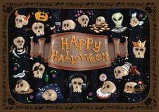 Carte et crânes heureux de Halloween Photos stock