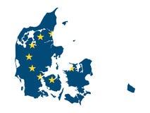 Carte et drapeau combinés de pays de l'UE du Danemark illustration stock