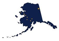 Carte et drapeau d'ensemble d'état de l'Alaska Photographie stock libre de droits
