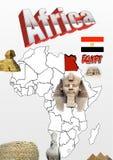 Carte et drapeau de l'Egypte avec les monuments antiques Image libre de droits