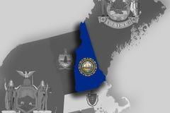 Carte et drapeau de New Hampshire Image libre de droits