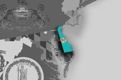 Carte et drapeau du Delaware Photographie stock libre de droits