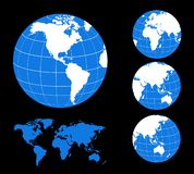 Carte et globe du monde images libres de droits