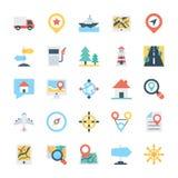 Carte et icônes 2 de vecteur colorées par navigation illustration libre de droits