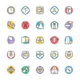 Carte et icônes fraîches 3 de vecteur de navigation Photo libre de droits