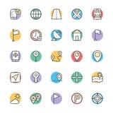 Carte et icônes fraîches 1 de vecteur de navigation Photo libre de droits