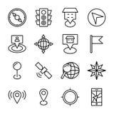 Carte et ligne icônes de navigation Photo libre de droits
