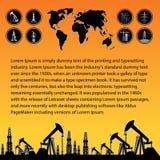 Carte et plate-forme pétrolière Photo libre de droits