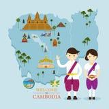 Carte et points de repère du Cambodge avec des personnes dans l'habillement traditionnel Images libres de droits
