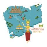Carte et points de repère du Cambodge avec le danseur d'Apsara Image stock