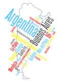 Carte et villes de l'Argentine Photographie stock libre de droits