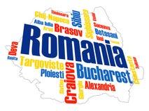 Carte et villes de la Roumanie photo stock