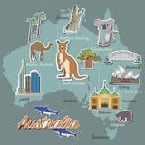 Carte et voyage d'Australie Photo stock