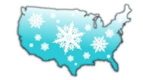 Carte Etats-Unis d'éclaille de neige de l'hiver Photos libres de droits