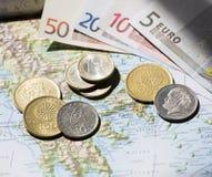 Carte, euros et paysage grecs de drachme Image libre de droits