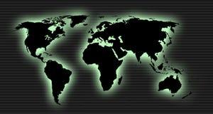 Carte extérieure du monde de lueur Images libres de droits