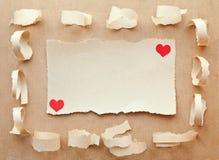 Carte fabriquée à la main de papier. Lettre d'amour Photos libres de droits