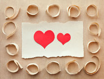 Carte fabriquée à la main de papier. Lettre d'amour Images libres de droits