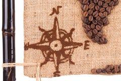 Carte faite de graines de café Photos stock