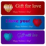 Carte felici dei cuori di vettore di San Valentino Fotografia Stock Libera da Diritti