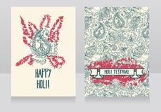 Carte felici di festival di holi Fotografia Stock