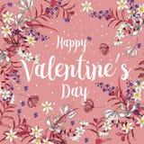 Carte felici di giorno di biglietti di S. Valentino con gli ornamenti, cuori, struttura typogr illustrazione vettoriale