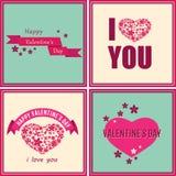 Carte felici di giorno di biglietti di S. Valentino con gli ornamenti, i cuori, i fiori ed il nastro Fotografia Stock