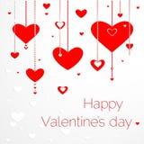 Carte felici di giorno di biglietti di S. Valentino con i cuori. Fotografie Stock Libere da Diritti