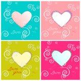Carte felici di giorno di biglietti di S. Valentino con i cuori. Fotografia Stock Libera da Diritti
