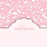 Carte felici di giorno di biglietti di S. Valentino con i cuori e la struttura Immagini Stock Libere da Diritti