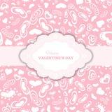 Carte felici di giorno di biglietti di S. Valentino con i cuori e la struttura Immagine Stock