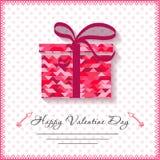 Carte felici di giorno di biglietti di S. Valentino con il regalo su fondo Fotografia Stock Libera da Diritti