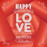 Carte felici di giorno di biglietti di S. Valentino su fondo rosa Immagine Stock Libera da Diritti