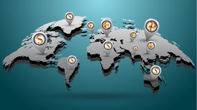 Carte financière du monde gravée Photo stock