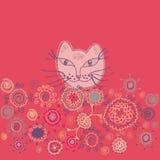 Carte florale avec le chat Images libres de droits