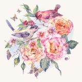 Carte florale d'aquarelle de vintage Les oiseaux et se sont levés Photos stock