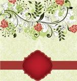 Carte florale d'invitation avec les fleurs rouges et blanches Images stock