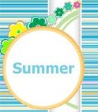 Carte florale d'invitation d'été vacances d'été, fleurs et lignes abstraites réglées Photo stock