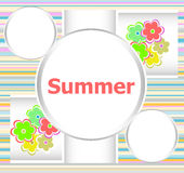 Carte florale d'invitation de bel été vacances d'été, fleurs et lignes abstraites réglées Images libres de droits