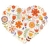 Carte florale de coeur Images stock
