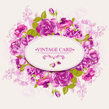 Carte florale de cru avec des roses Photographie stock