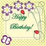 Carte florale de ressort de joyeux anniversaire Photo libre de droits