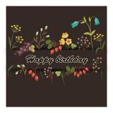 Carte florale de salutation d'anniversaire de vintage Photos stock