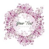 Carte florale de vecteur d'aquarelle de vintage avec le lilas Fond romantique de mariage avec le cadre rond Conception naturelle Image libre de droits
