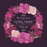 Carte florale de vintage dans le style chic minable Image libre de droits