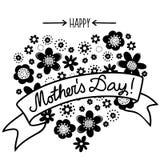 Carte florale monochrome heureuse du jour de mère Images libres de droits