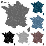 Carte fortement détaillée d'ensemble de Frances illustration stock