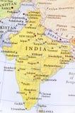 Carte géographique d'Inde avec les villes importantes photographie stock libre de droits